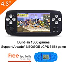 CZT 4.3 inch screen 64Bit Handheld Game Console Portable Game Console build in 1300 no-repeat game for NEOGEO\CPS\GBA\GBC\GB\SFC\FC\MD\GG\SMS MP3/4 camera (Black)