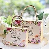 Zhi Jin, set da 30 scatole per confetti, motivo floreale, per bomboniere da matrimonio, con manico, in carta, decorative Champagne
