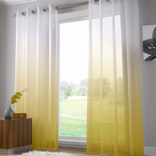 Alan symonds - tenda a pannello - in rete semitrasparente - attacco ad occhiello/asola - 147 x 229 cm - giallo e bianco
