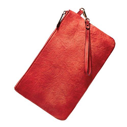 Pochette Borsetta In Pelle Bvane Nuovo Retrò Sezione Di Cuoio Minimalista Lungo Di Sacchetti Della Chiusura Lampo -160080 (rosso)
