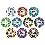 Chen Rui 10Pcs Jetons Poker Jeu Casino Pions Disques Puces Marqueurs Jeu Cartes Texas
