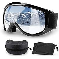 Migimi Skibrille, OTG Snowboard Brille Hochwertige Ski Schutzbrille, UV-Schutz Schneebrille Anti-Schwindel Anti-Fog Helmkompatible Augenschutz für Outdoor Aktivitäten Skifahren Radfahren Wandern