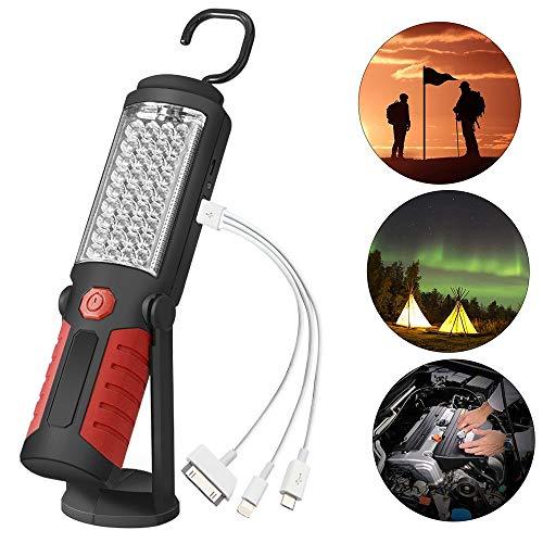 DAMIGRAM LED Lámpara de Inspección Linterna de Trabajo Recargable Portátil COB LED Lámpara con Magnético Soporte y Gancho Colgante para Mecánicos, DIY, Boating (Red)