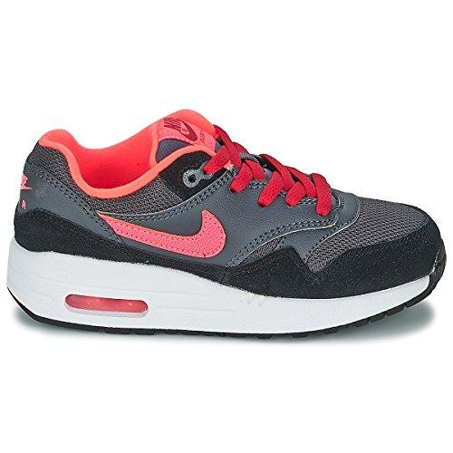 Nike Air Max 1 (Gs), Nike Air Max 1 GS black cool grey white 555766 043 homme gris fonce-noir-rose-rouge