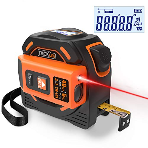 Metro a nastro laser, TACKLIFE TM-L01 misuratore laser, misura laser 40 metri, misura nastro 5 metri, per display a LED, due batterie AAA, per strumenti di misurazione di architettura domestica