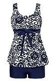 Summer Mae Damen Badekleid Geblümt  Spa Badeanzug Strandkleid Baden Swimwear ,Marineblau (Zweiteiler),EU 40 = Etikett Größe  4XL