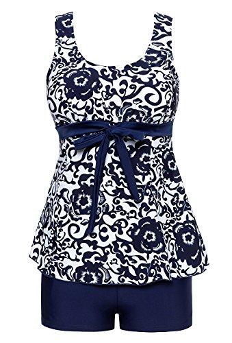Damen Badeanzug Baden (Summer Mae Damen Badekleid Geblümt  Spa Badeanzug Strandkleid Baden Swimwear ,Marineblau (Zweiteiler),EU 46 = Etikett Größe  7XL)