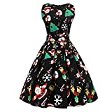 JUTOO Frauen-Weihnachtsdruck Pin Up Swing Party Panel Dress(Y1-Schwarz,XX-Large)
