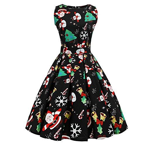 VEMOW 2018 Cocktailkleid Elegant Damen Frauen Abendkleid Weihnachten Drucken Pin Up Swing Lässige Tanzen Spitze Party Panel Kleid(X1-Schwarz 2, EU-34/CN-S)