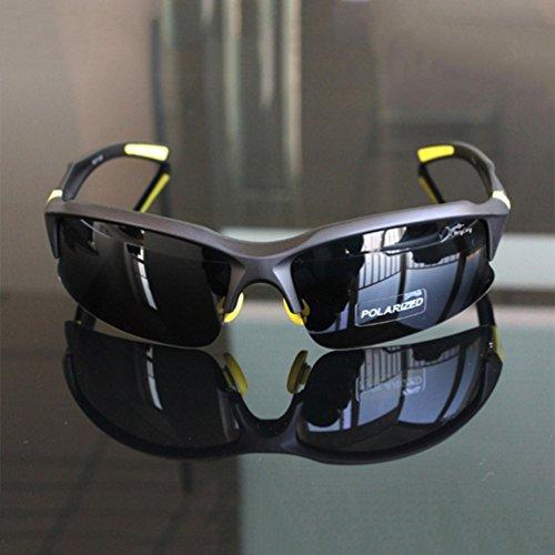 Polarisierende Radsportbrille, Fahrradbrille für Herren, bruchfeste Sport-/Fahrrad-Sonnenbrille, UV 400,STS014, für Outdoor-Aktivitäten, schwarz/gelb
