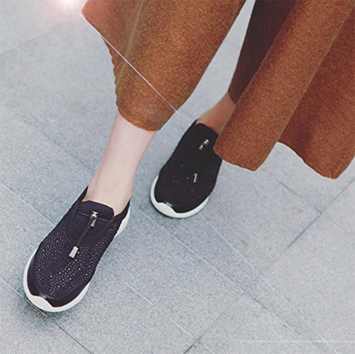 Strass scarpe da corsa delle donne scarpe casuali pigri bocca profonda singoli pattini delle donne dal fondo pesante caduta scarpe ascensore Ms. Black