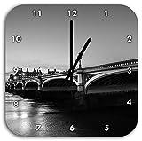 schöne Westminster Bridge und Big Ben schwarz/weiß, Wanduhr Quadratisch Durchmesser 28cm mit schwarzen spitzen Zeigern und Ziffernblatt, Dekoartikel, Designuhr, Aluverbund sehr schön für Wohnzimmer, Kinderzimmer, Arbeitszimmer