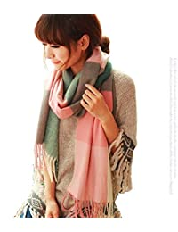 Ziory Pink 190cm*60cm Winter Neck Scarf Warm Soft Scarves Plaid Tassels Shawl Stole for Girls and Women