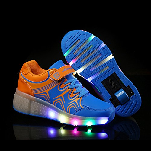 SGoodshoes Kinder Herren Damen LED Leuchtet Sneakers mit einem Cooly Roller Skateboard Schuhe Sport Turnschuhe ohne USB Blau