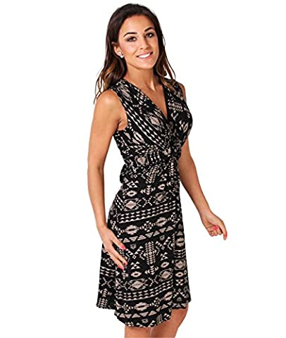 6607-MOCBLK-12: Aztec Print V Neck Dress