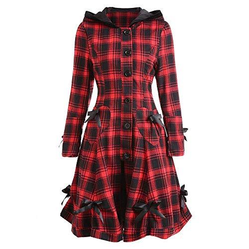 Saoye Fashion Mode Einzigartige Stil Womens Steampunk Lace Up Mit Kapuze Kleidung Trenchcoat Jacke Blazer Tops Abend Party Elegante Formal Slim Plaid Outwear (Color : Rot, Size : XL)