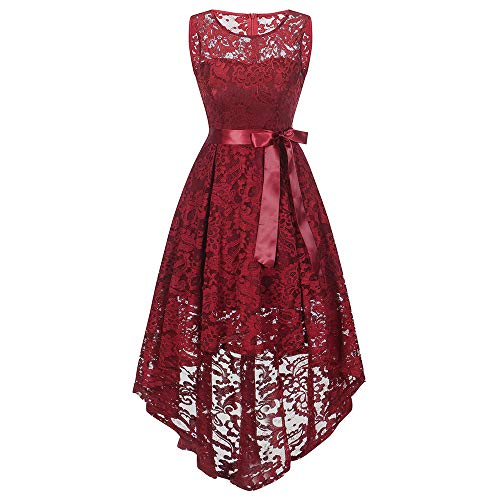 ESAILQ Damen Kleider Damen ÄRmellose Formale Damen Hochzeit Brautjungfer Spitze Langes Kleid(XX-Large,Rot)