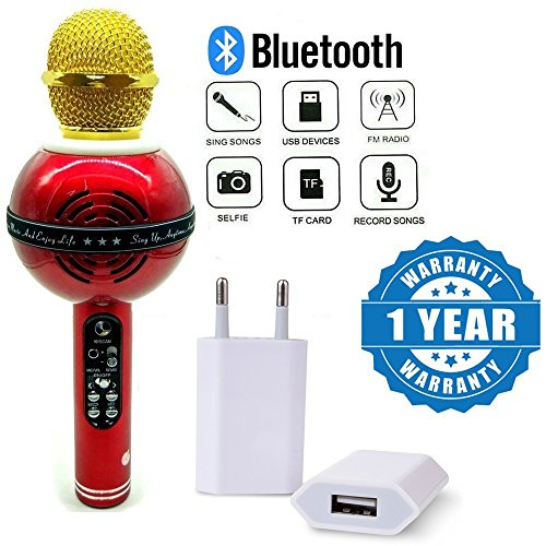 Captcha Wireless Bluetooth WS-878 Microphone MIC Recording Condenser Handheld Led Microphone With 1amp Usb Power Wall Adapter Compatible with Xiaomi, Lenovo, Apple, Samsung, Sony, Oppo, Gionee, Vivo Smartphones (One Year Warranty)  available at amazon for Rs.1239