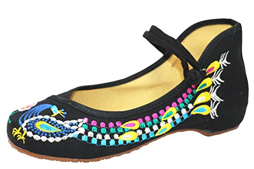 Icegrey Scarpe Donna Ballerine Ricamato A Mano Etnica Ricamato del Pavone Mary Jane Slip On Calzature Nero