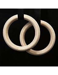 grofitness–Anillas de gimnasia de madera con ajustable correas fuerza gimnasio anillos formación Tire hacia arriba Calistenia