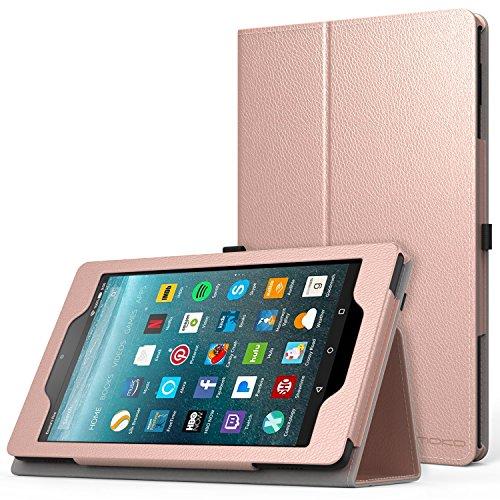MoKo Hülle für All-New Amazon Fire 7 Tablet (7. Generation, 2017 Modell) - Kunstleder Ständer Schutzhülle mit Auto Sleep/Wake up Funktion, Stift-Schleife und Stanfunktion, Rose Gold