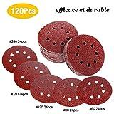 TECCPO Disque de Ponçage, 120pcs, Papier de Verre pour Ponceuse Excentrique Ø 125 mm Disques Abrasifs de 24*(P60/80/120/180/240)