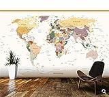GBHL Papel tapiz para niños, Mapa del mundo político Colores vintage, murales de dibujos animados en 3D para cuartos de niños papel tapiz de vinilo, 200x140 cm (78.7 por 55.1 pulg.)