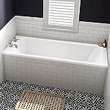 1700 mm Luxury Square Single Ended Traditional Straight Bath White Bathroom Bathtub