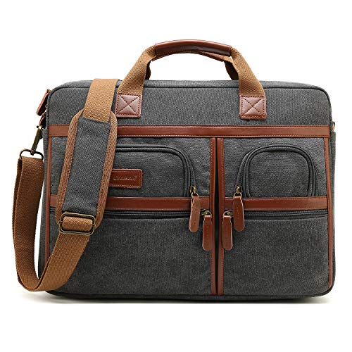 Laptop Aktentasche, CoolBELL 17.3 Inch schützend Messenger Bag Umhängetasche Herren Businesstasche Arbeitstasche Notebook Schultertasche Multifunktional Henkeltasche für 17 - 17,3 Zoll Laptop Macbook(Canvas Grau)