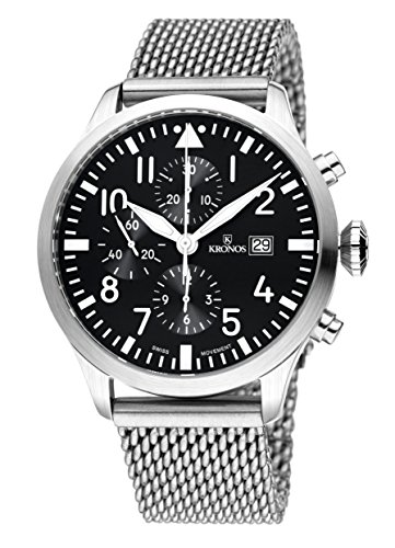 KRONOS - Pilot Automatic Chronograph Black 991.8.55 - Reloj de Caballero automático, Brazalete de Acero...