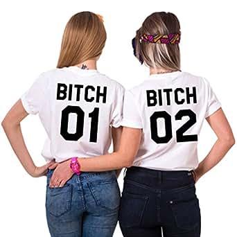 Ziwater Best Friends Passende Kurzarm Shirt Für 2 Damen mit Lustige Aufdruck Bitch Sisters von (01-2XL+02-S, Schwarz-01+02)