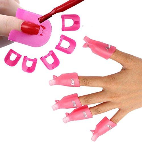 BZLine 10 PC Nail Art Tremper Off Cap Clip UV Gel Polisseur Remover Wrap + 26 pcs Nail Modèle Déversement Preuve Manucure Protecteur Outils (Pink)