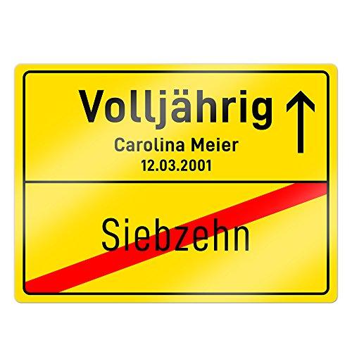 Casa Vivente - Ortsschild mit Aufdruck zum 18. Geburtstag - Personalisiert mit Namen und Datum - Aluminium-Schild - Wand-Deko - Geschenkidee zur Volljährigkeit - Geburtstagsgeschenke