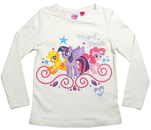 My Little Pony Kollektion 2017 Langarmshirt 98 104 110 116 122 128 Twilight Sparkle, Pinkie Pie und Applejack Creme (104 - 110, (Pie Pinkie Kleid)