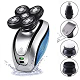 Bald Head Shaver, 5 in 1 USB Rechargeable IPX6 Waterproof 5D Rotary Shaver