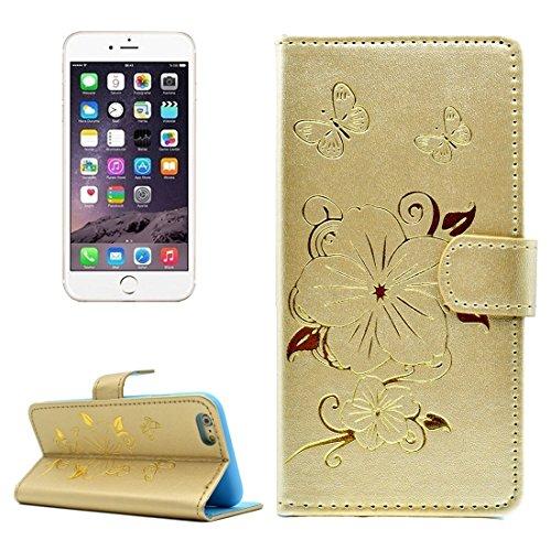 Phone case & Hülle Für iPhone 6 Plus / 6s Plus, Bronzing Butterfly Pattern Horizontale Flip PU Ledertasche mit Halter & Card Slots & Wallet ( Color : Purple ) Gold