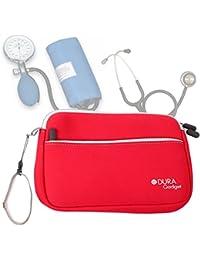 DURAGADGET Estuche De Neopreno Rojo para Guardar Sus Accesorios Médicos (Estetoscopio/Tensiómetro)  