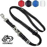 FEUERWOLF Hundeleine 3-fach längenverstellbar 2 Meter lang - Doppelleine -  Für mittlere und große Hunde - Robust und stabil - Beidseitig reflektierend - schwarz