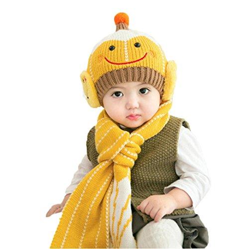 KanLin Baby Hat Scarf Baby Cute Winter Kids Baby Hats Keep Warm Set (Yellow)