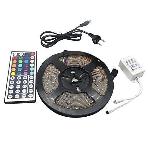 Skitic LED Striscia 5M RGB 300 LEDs 2835 SMD LED Strip Impermeabile IP65 Flessibile Adesivo + 44 Tasti Telecomando + 2A DC 12V Alimentatore - Multi Spoke Wheel