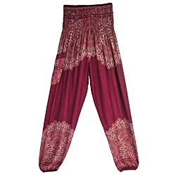 Kobay Yoga Pants,men Women Thai Harem Trousers Boho Festival Hippy Smock High Waist Yoga Pants