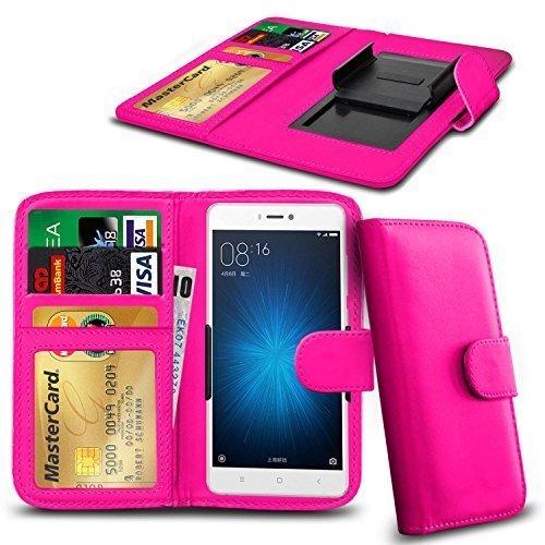 N4U ONLINE - Verschiedene Farben Clip Serie PU- Leder Brieftasche Buch Hülle für Oppo N1 Mini - Rosa