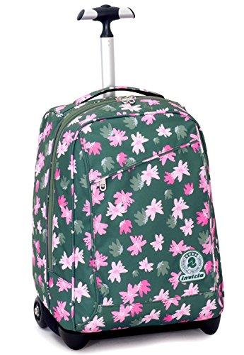 Trolley invicta , painted daises , rosa , 35 lt , 2in1 zaino  con spallacci a scomparsa , scuola & viaggio