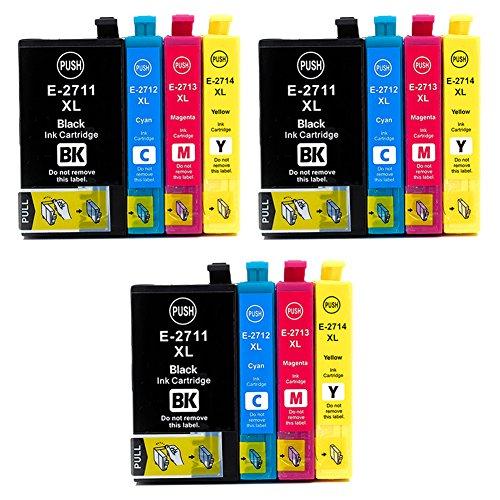 Teng 27XL - Cartucce d'inchiostro sostitutive per Epson 27 XL, per stampanti Epson Workforce WF 3620 WF 3640 WF 7610 WF 7620 WF 7110 WF 7715 WF 7720 WF 7210 (3 nero, 3 ciano, 3 magenta, 3 giallo)