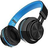 Darkiron Bluetooth Auriculares micrófono incorporado Auricular inalámbrico con tarjeta TF de radio FM y Extra Cable de audio para la mayoría de los teléfonos celulares, iPhone, ordenador portátil, TV, Bluetooth 4.0 Dispositivos (Azul)