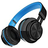 Darkiron Bluetooth Drahtloser Kopfhörer mit Eingebautes Mirkrofon TF Karte FM Radio und Mitgelieferte Audio Kabel Kompatibel mit Meisten Bluetooth Geräte Handys Laptop TV usw Blau