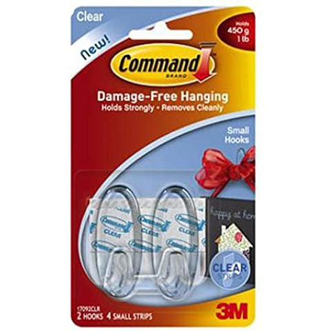 Command Small Clear Hooks with Clear Strips (17092CLR)
