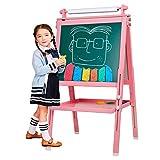 Arkmiido Chevalet pour Enfants en Bois 3 en 1, Tableau de Dessin magnétique Double Face avec axe de Dessin et Rouleau de Papier, Bonus magnétique, nombres, Pots de Peinture pour l'écriture (Rose)