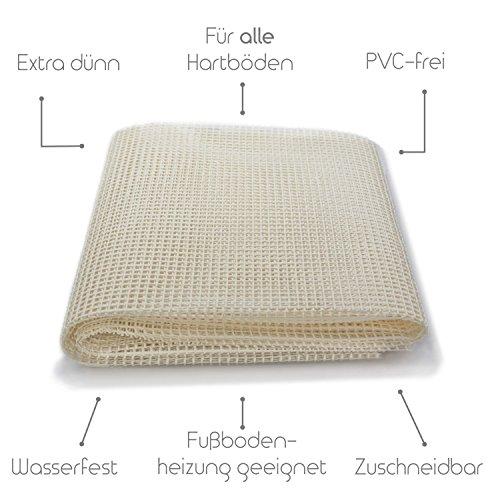 Premium Antirutschmatte ohne Weichmacher | Naturkautschuk | 80x200 cm - Für alle Hartböden, auch für hochwertige wie Parkett, Stein, Kork, etc. - Extra dünne rutschhemmende Teppichunterlage