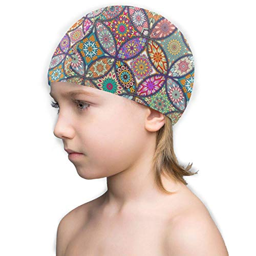 Agoyls Gorro de Baño/Gorro de Natacion,Kids Fun Swim Cap Colorful-Background-with-Different-Mandalas_1159-898 Lycra Comfy Swimming Bathing Cap for Short and Long Hair